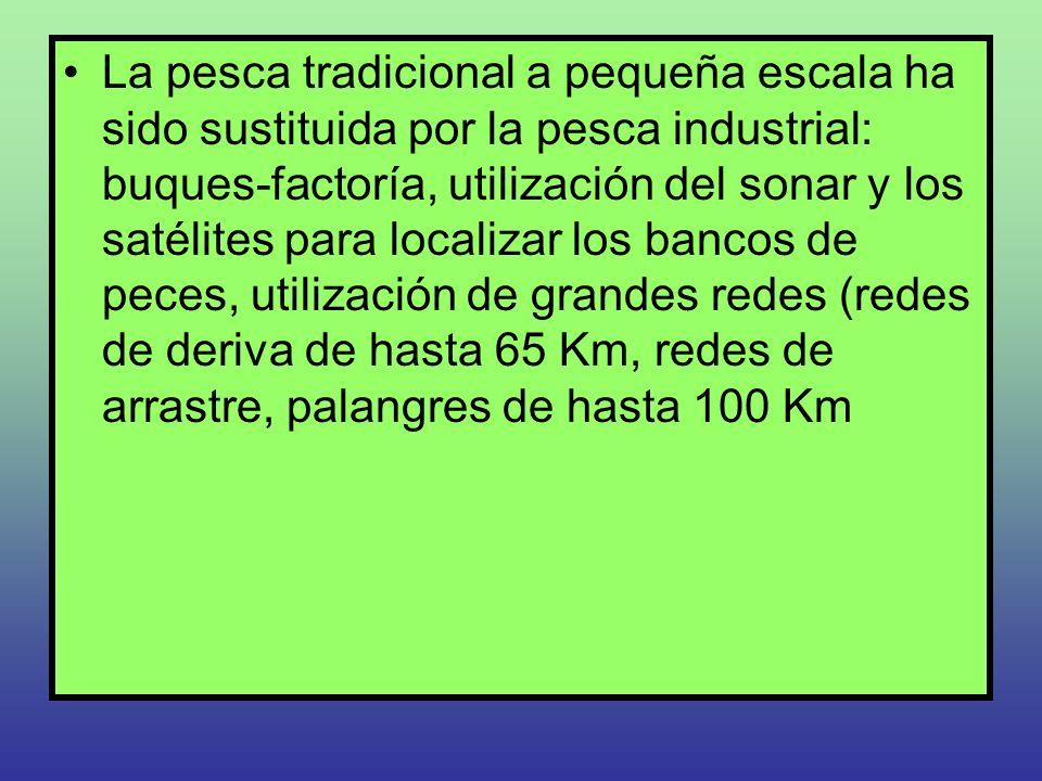 La pesca tradicional a pequeña escala ha sido sustituida por la pesca industrial: buques-factoría, utilización del sonar y los satélites para localizar los bancos de peces, utilización de grandes redes (redes de deriva de hasta 65 Km, redes de arrastre, palangres de hasta 100 Km
