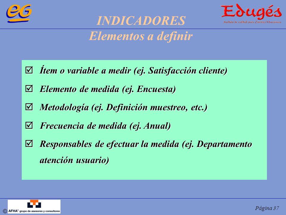 INDICADORES Elementos a definir