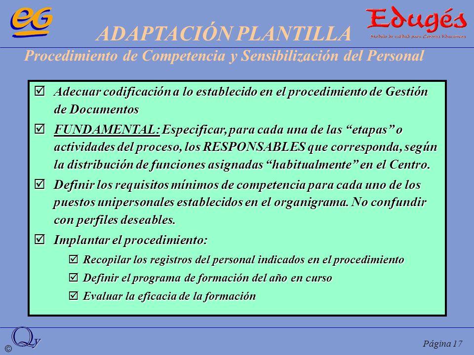 ADAPTACIÓN PLANTILLA Procedimiento de Competencia y Sensibilización del Personal