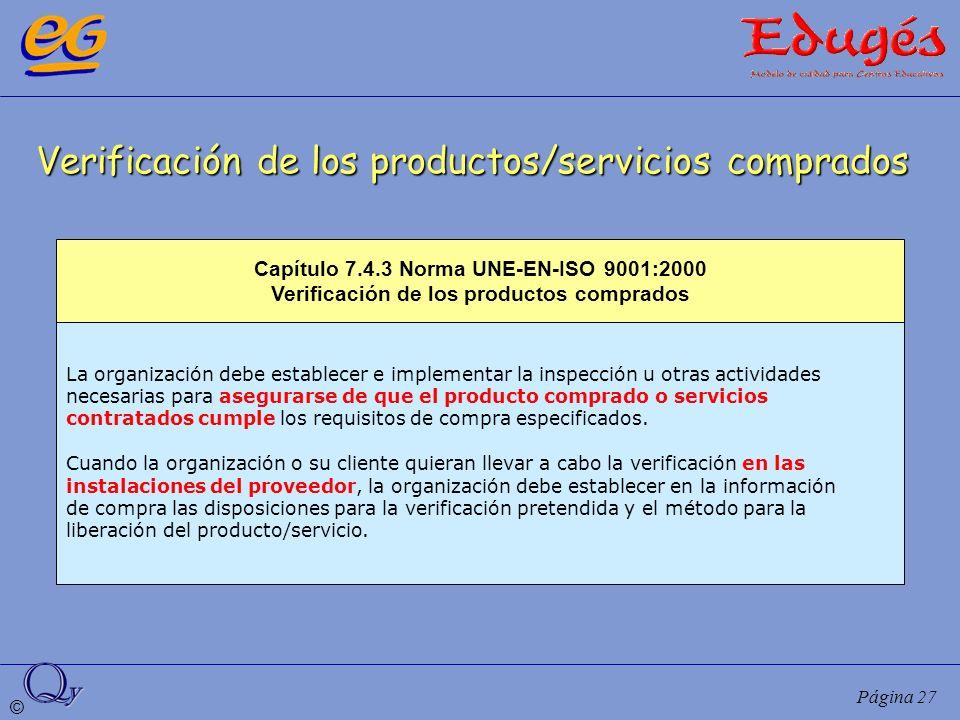 Verificación de los productos/servicios comprados
