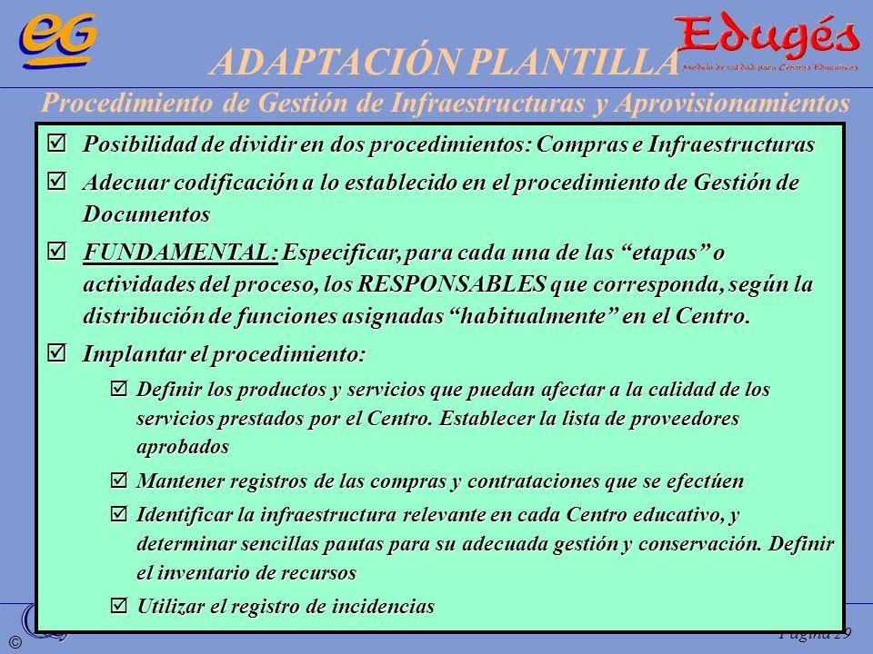 ADAPTACIÓN PLANTILLA Procedimiento de Gestión de Infraestructuras y Aprovisionamientos