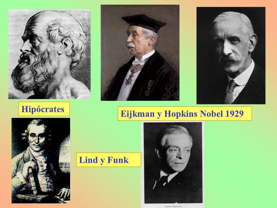 Hipócrates Eijkman y Hopkins Nobel 1929 Lind y Funk