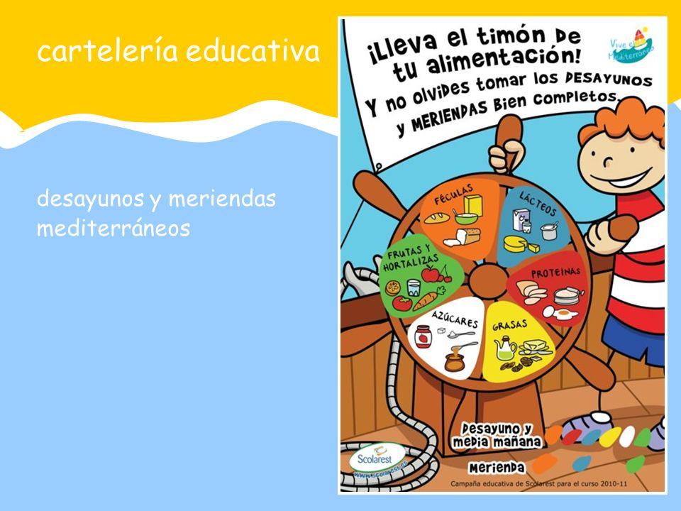 cartelería educativa desayunos y meriendas mediterráneos
