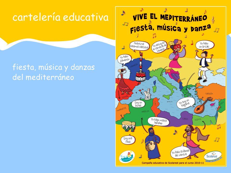 cartelería educativa fiesta, música y danzas del mediterráneo