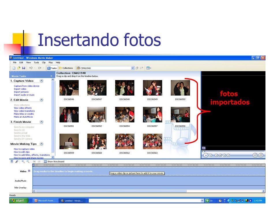 Insertando fotos fotos importados