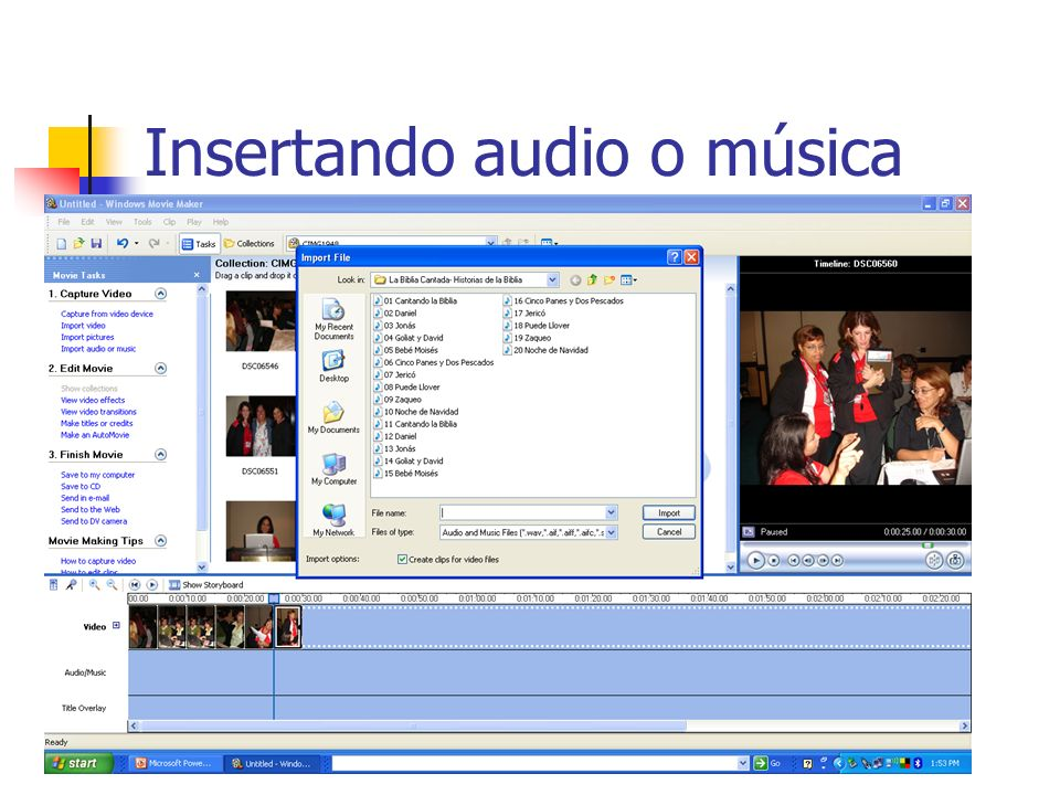 Insertando audio o música