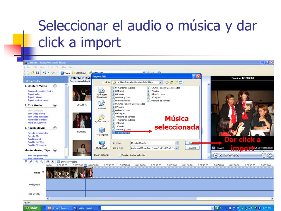 Seleccionar el audio o música y dar click a import
