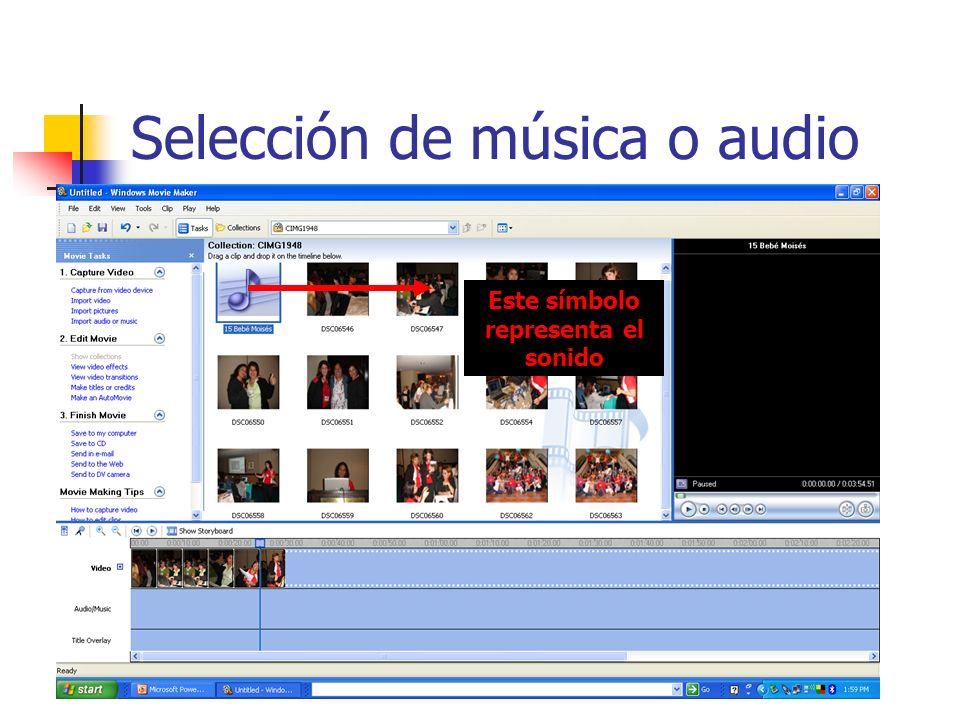 Selección de música o audio