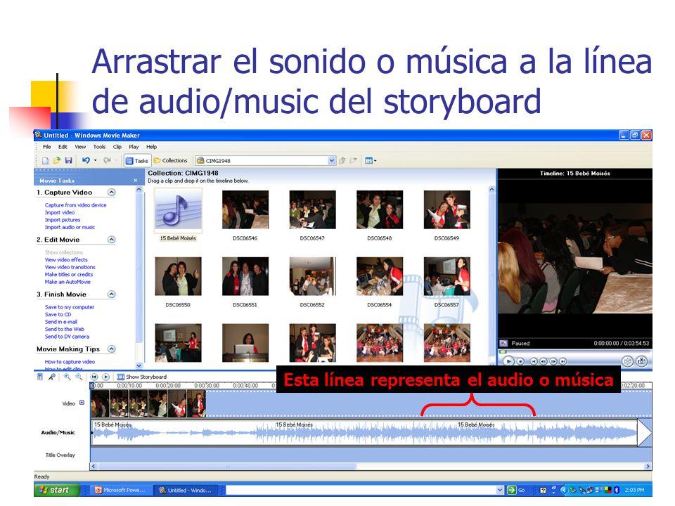 Arrastrar el sonido o música a la línea de audio/music del storyboard