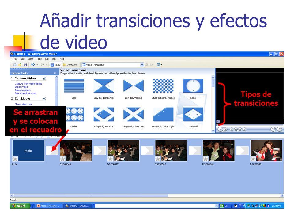 Añadir transiciones y efectos de video