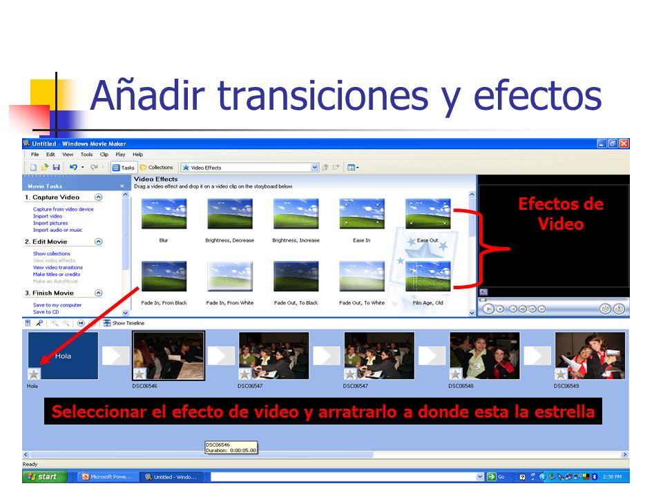 Añadir transiciones y efectos