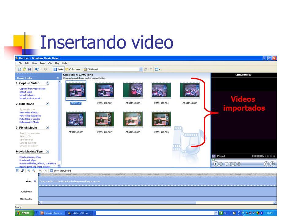 Insertando video Videos importados