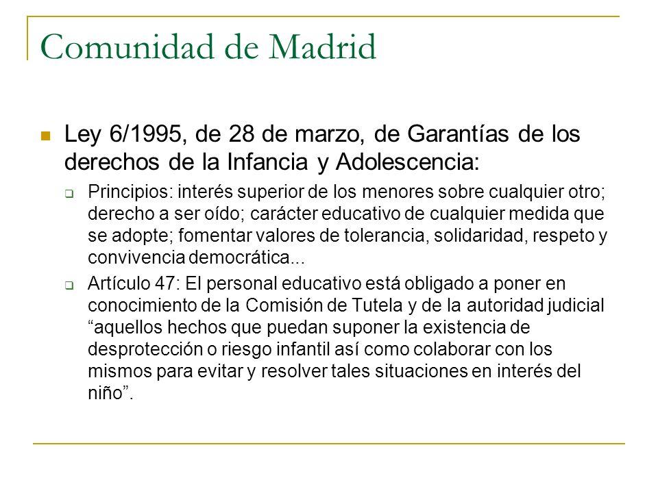 Comunidad de Madrid Ley 6/1995, de 28 de marzo, de Garantías de los derechos de la Infancia y Adolescencia: