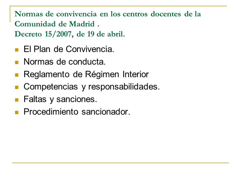 Reglamento de Régimen Interior Competencias y responsabilidades.