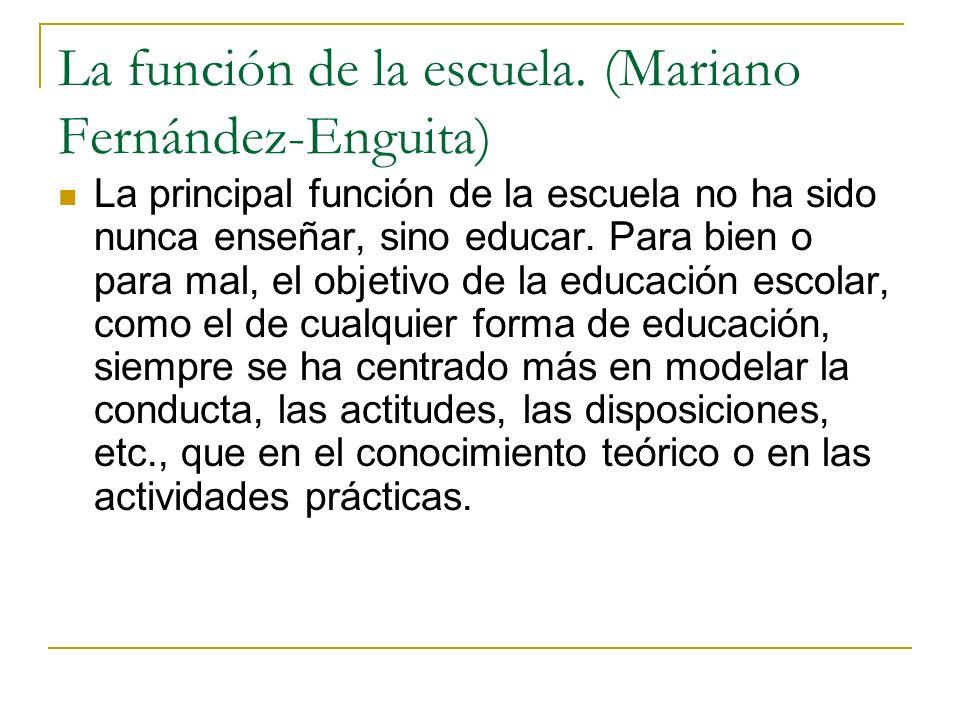 La función de la escuela. (Mariano Fernández-Enguita)
