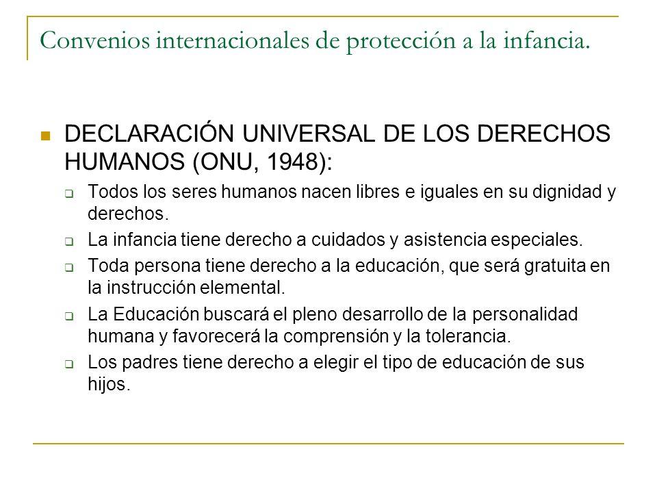 Convenios internacionales de protección a la infancia.