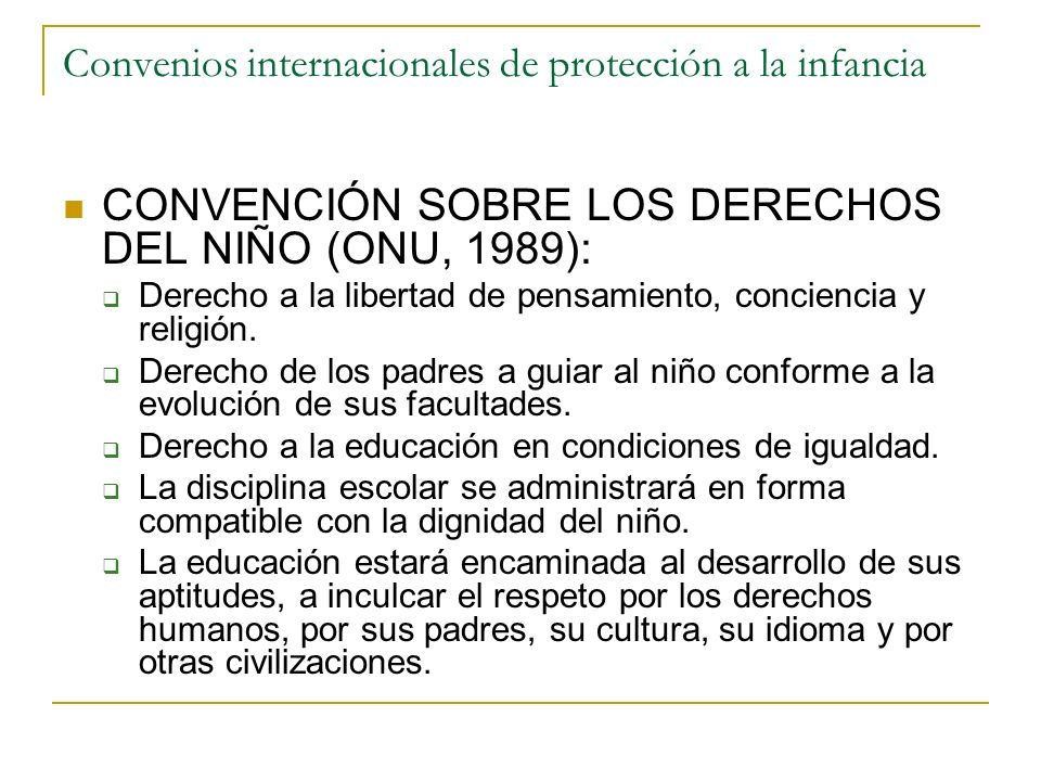 Convenios internacionales de protección a la infancia