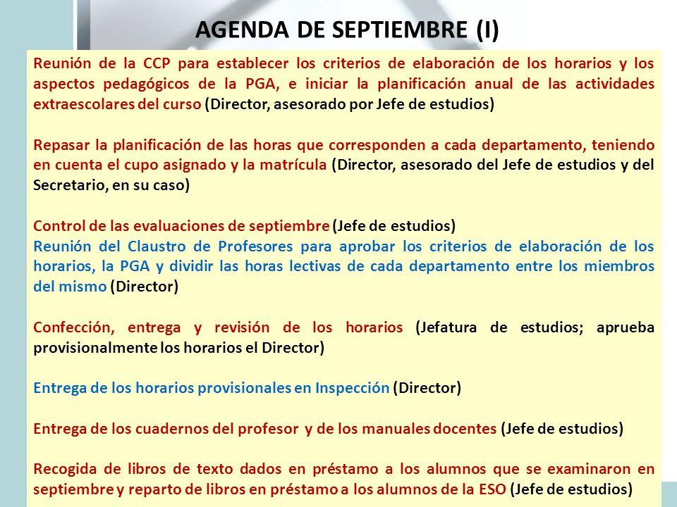AGENDA DE SEPTIEMBRE (I)