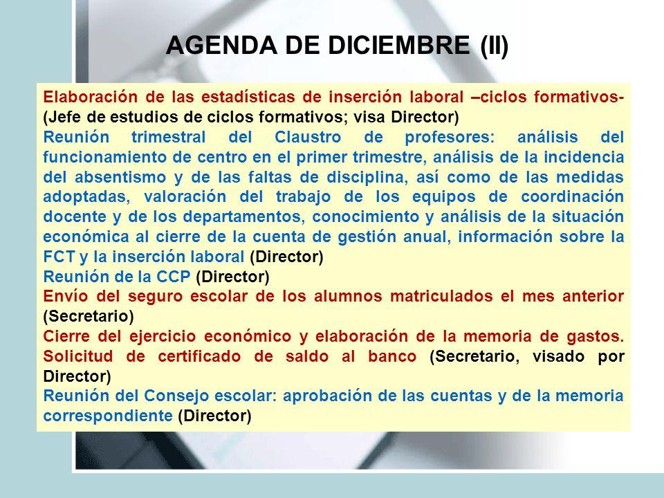 AGENDA DE DICIEMBRE (II)