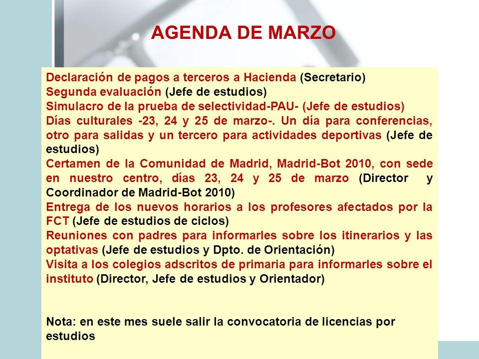 AGENDA DE MARZO Declaración de pagos a terceros a Hacienda (Secretario) Segunda evaluación (Jefe de estudios)