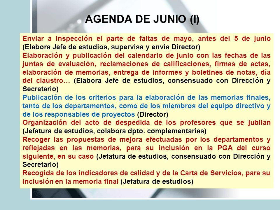 AGENDA DE JUNIO (I) Enviar a Inspección el parte de faltas de mayo, antes del 5 de junio (Elabora Jefe de estudios, supervisa y envía Director)