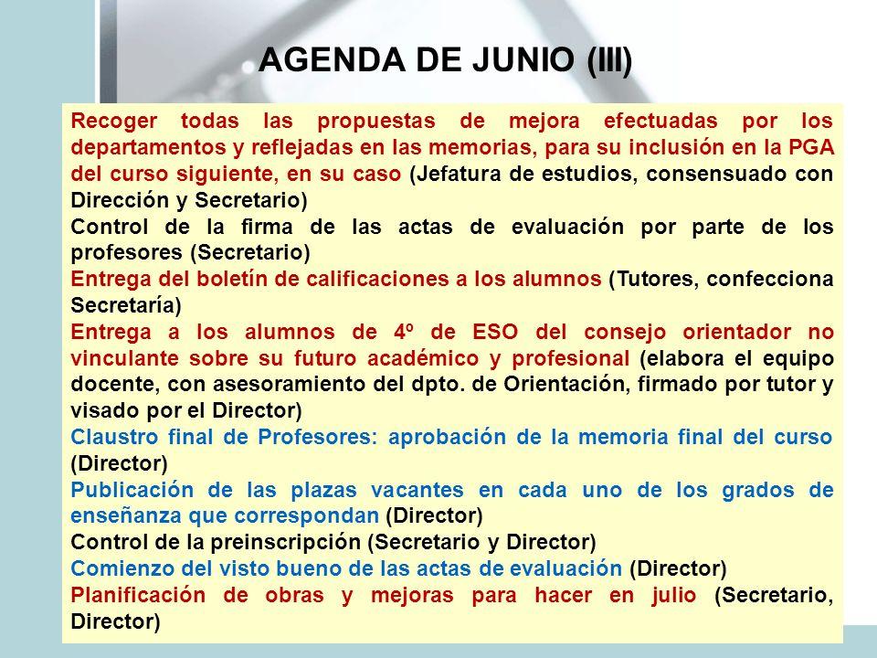 AGENDA DE JUNIO (III)