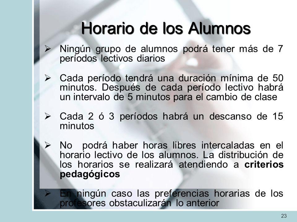 Horario de los AlumnosNingún grupo de alumnos podrá tener más de 7 períodos lectivos diarios.