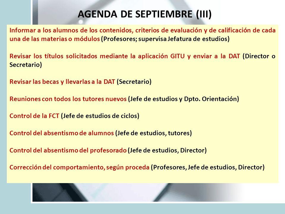 AGENDA DE SEPTIEMBRE (III)