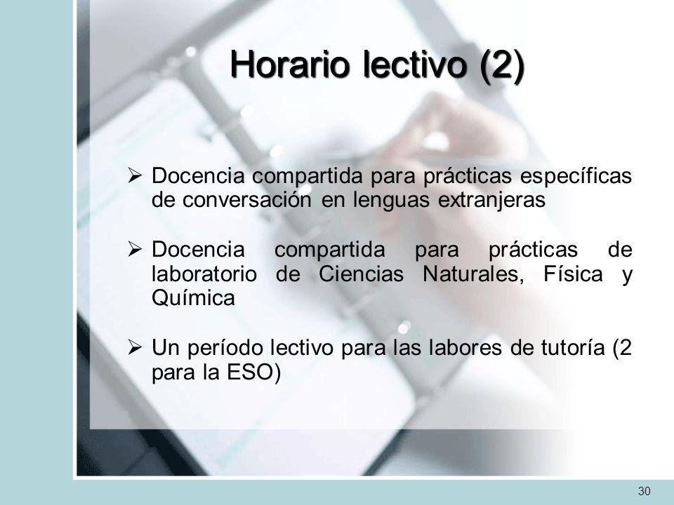 Horario lectivo (2) Docencia compartida para prácticas específicas de conversación en lenguas extranjeras.