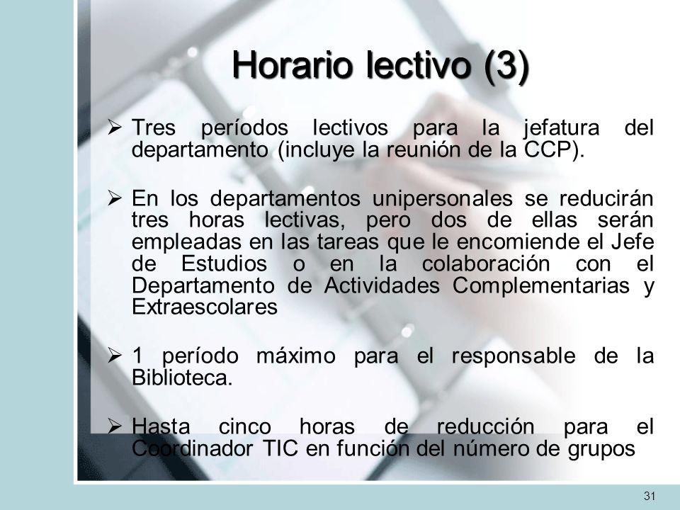 Horario lectivo (3)Tres períodos lectivos para la jefatura del departamento (incluye la reunión de la CCP).