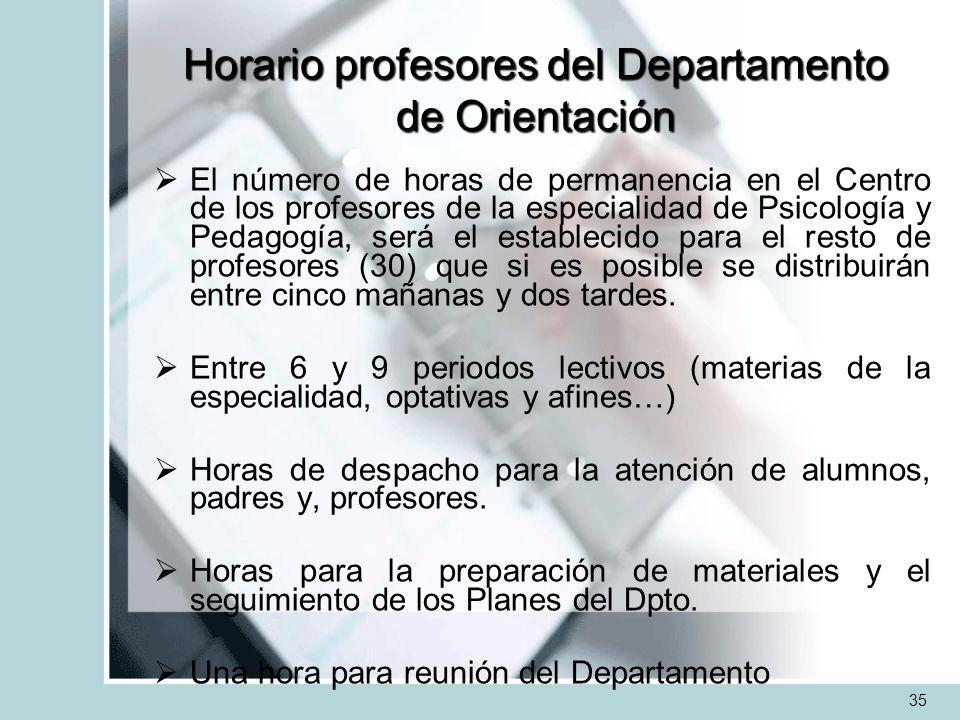 Horario profesores del Departamento de Orientación