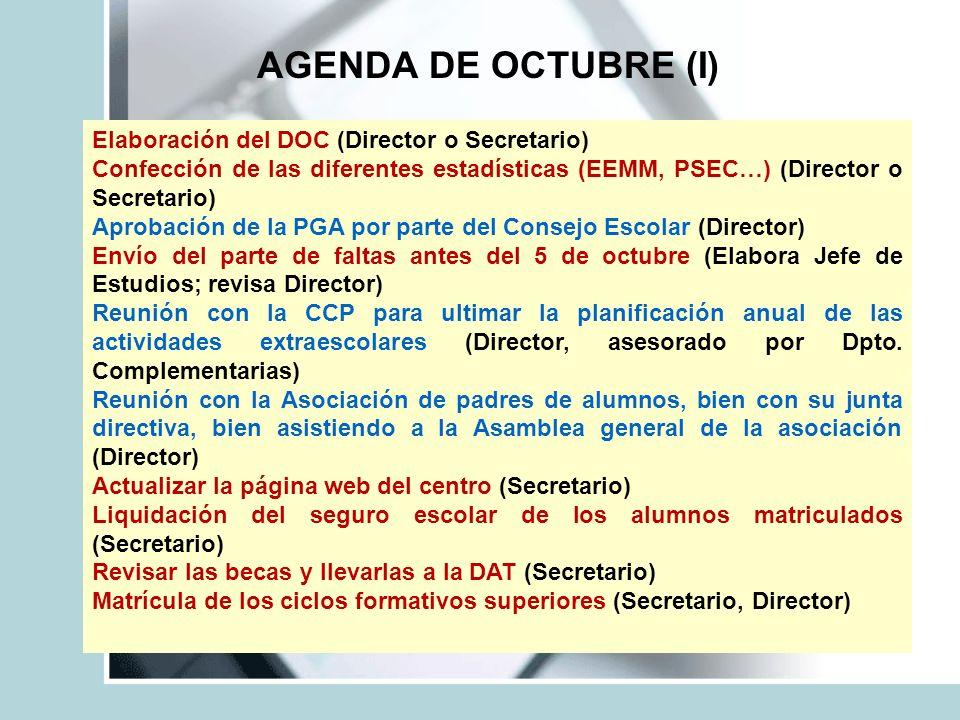 AGENDA DE OCTUBRE (I) Elaboración del DOC (Director o Secretario)