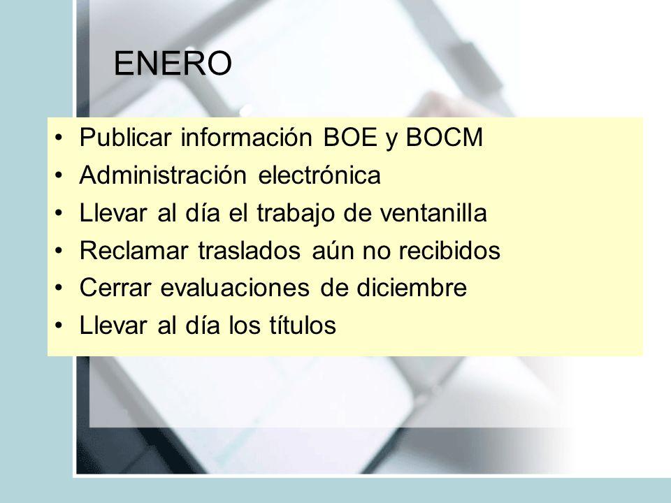 ENERO Publicar información BOE y BOCM Administración electrónica