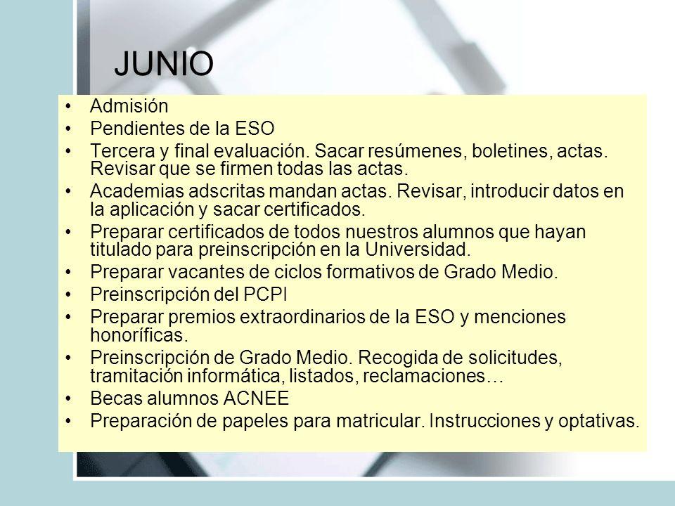 JUNIO Admisión Pendientes de la ESO