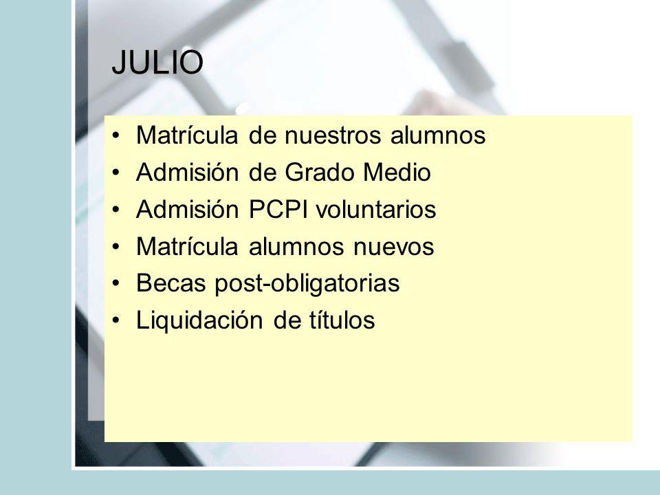 JULIO Matrícula de nuestros alumnos Admisión de Grado Medio
