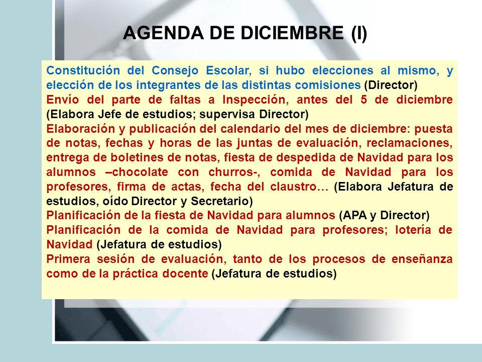 AGENDA DE DICIEMBRE (I)