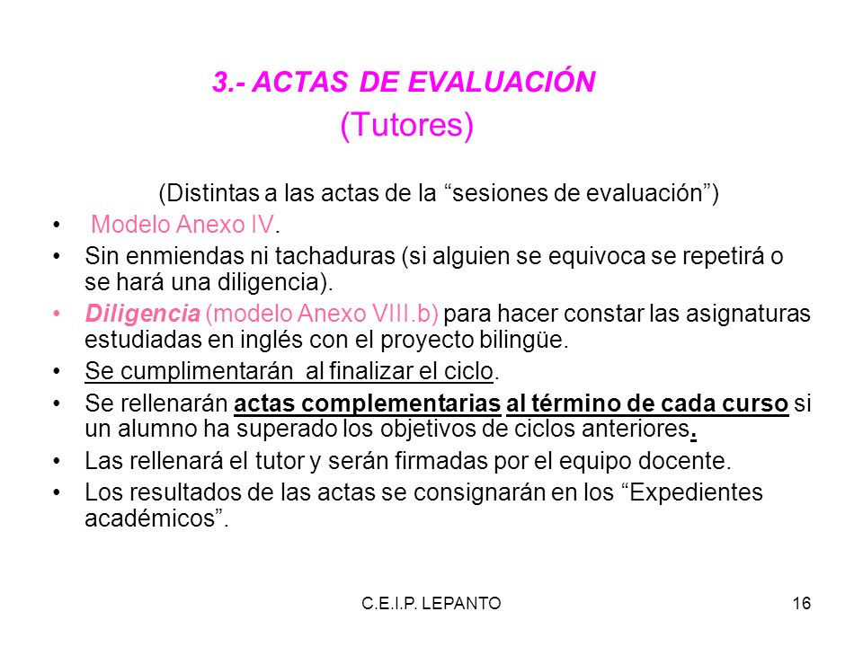 (Tutores) 3.- ACTAS DE EVALUACIÓN