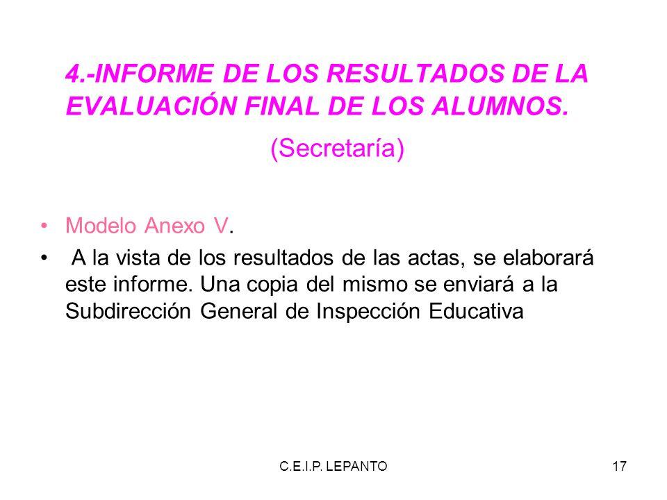 4.-INFORME DE LOS RESULTADOS DE LA EVALUACIÓN FINAL DE LOS ALUMNOS.