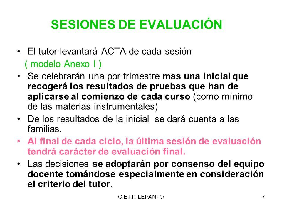 SESIONES DE EVALUACIÓN El tutor levantará ACTA de cada sesión