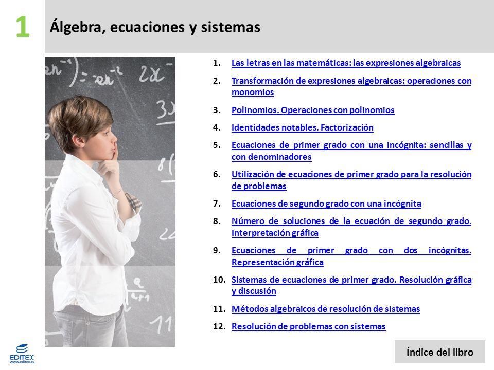 Álgebra, ecuaciones y sistemas