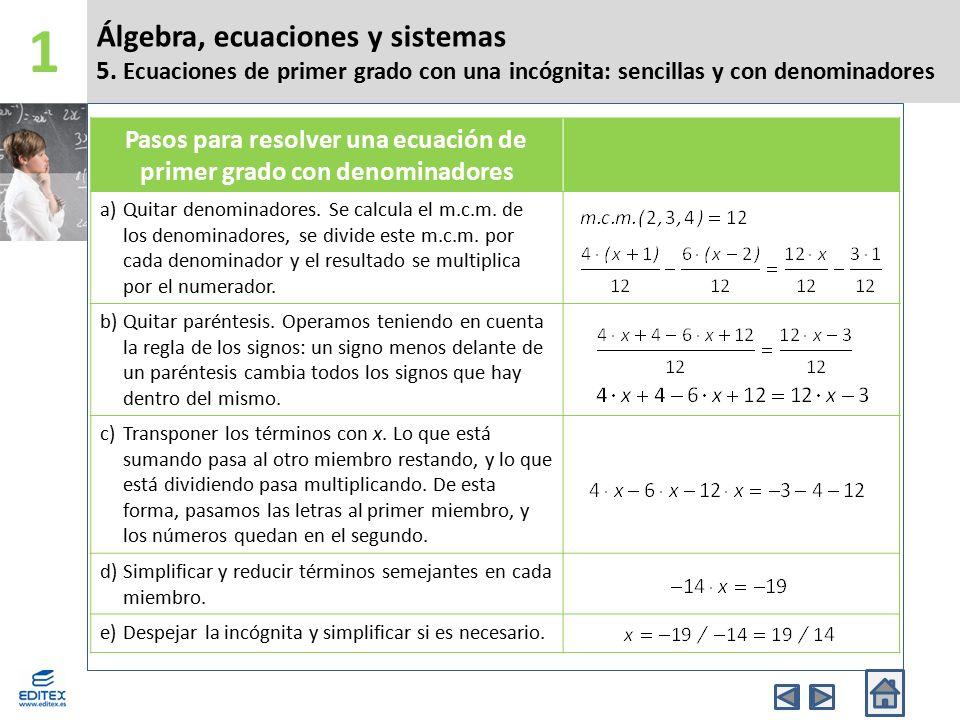 Pasos para resolver una ecuación de primer grado con denominadores