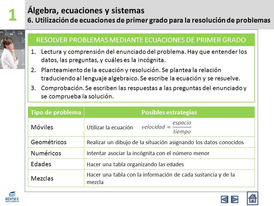 RESOLVER PROBLEMAS MEDIANTE ECUACIONES DE PRIMER GRADO