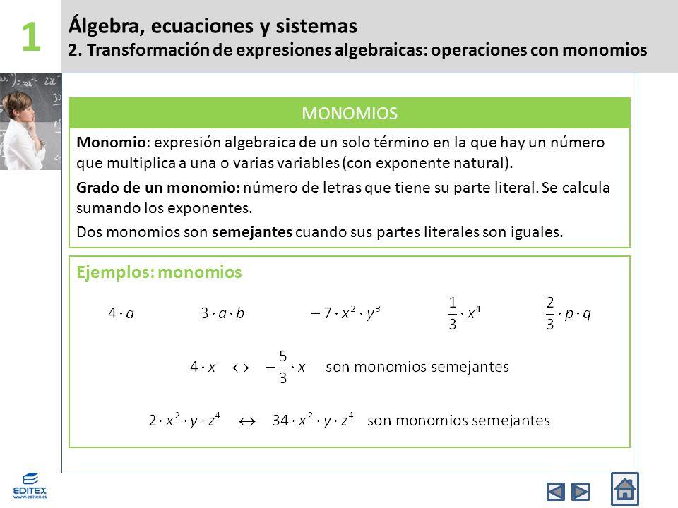 1 Álgebra, ecuaciones y sistemas 2. Transformación de expresiones algebraicas: operaciones con monomios.