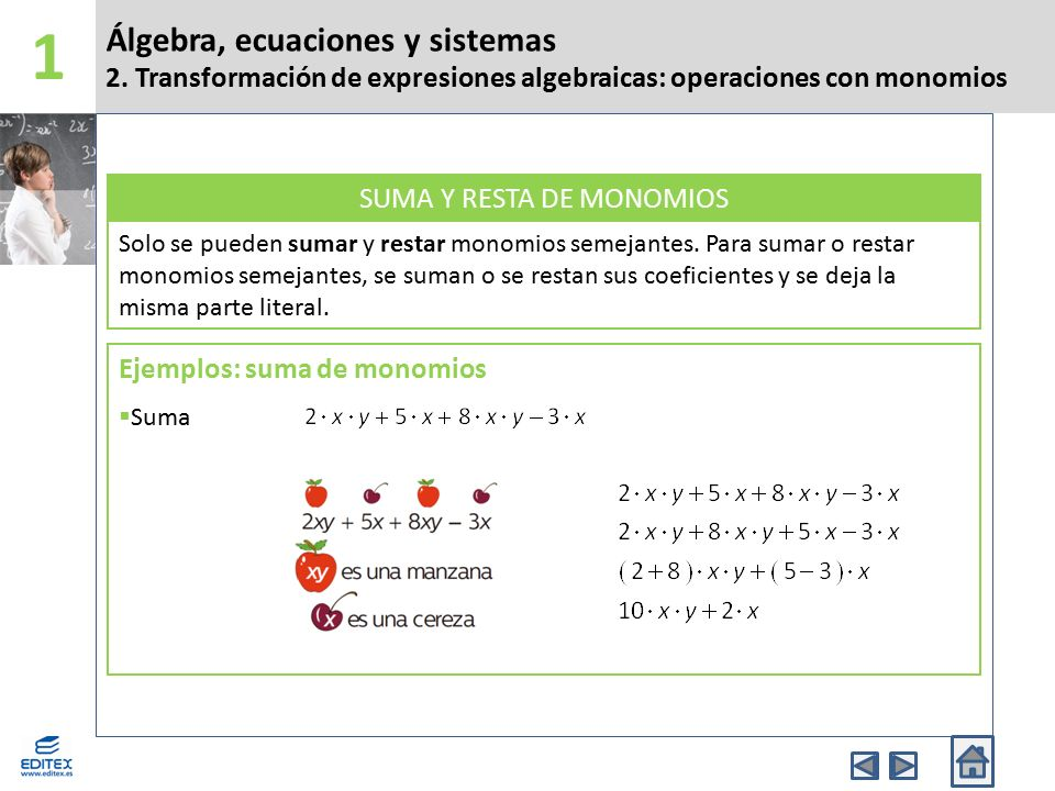 SUMA Y RESTA DE MONOMIOS
