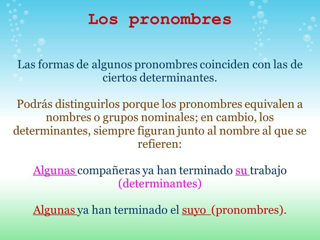 Los pronombres Las formas de algunos pronombres coinciden con las de ciertos determinantes.