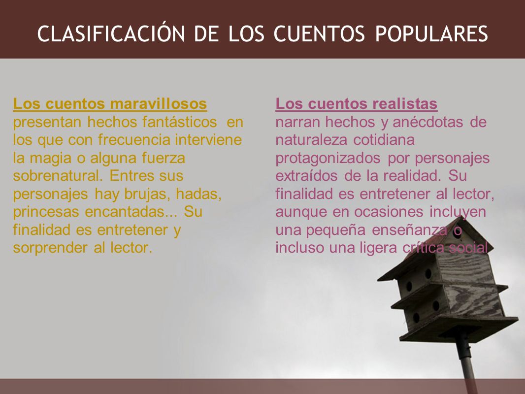 CLASIFICACIÓN DE LOS CUENTOS POPULARES