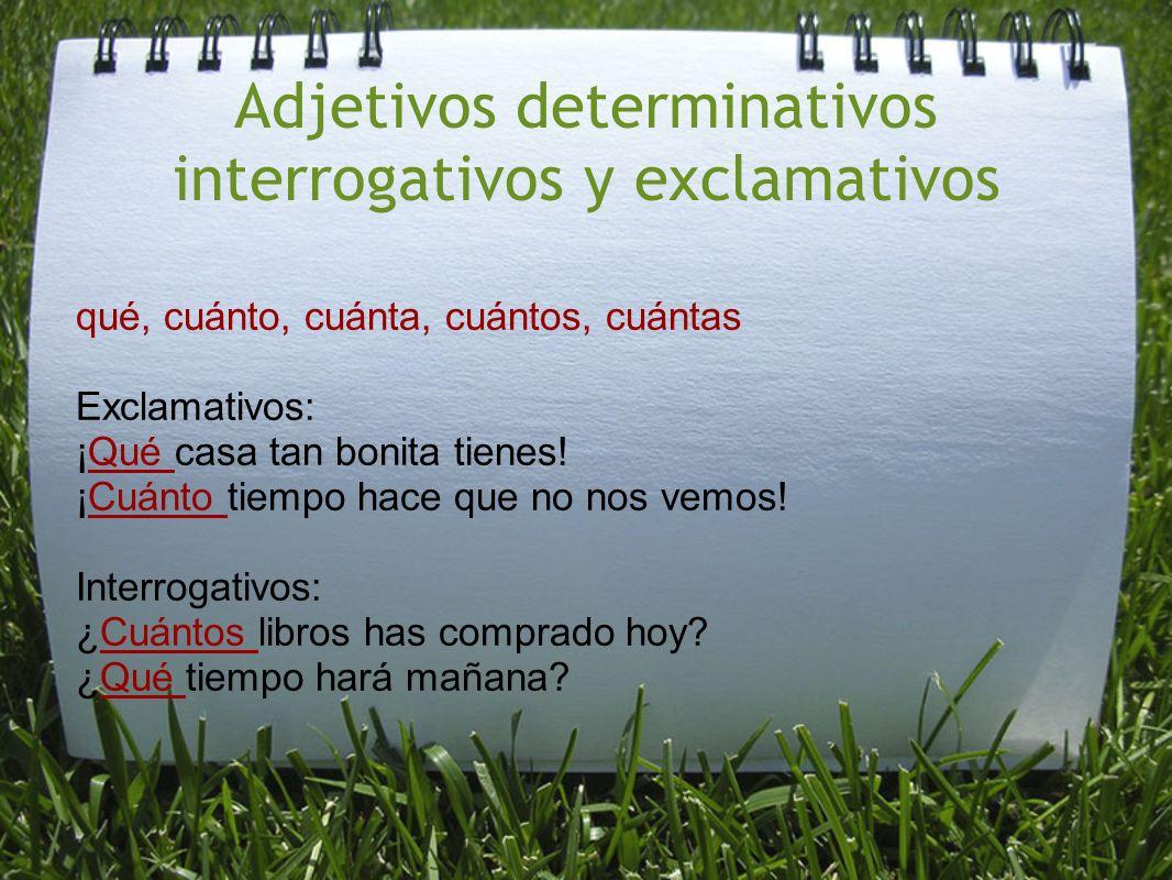 Adjetivos determinativos interrogativos y exclamativos