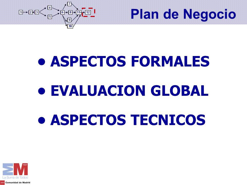 • ASPECTOS FORMALES • EVALUACION GLOBAL • ASPECTOS TECNICOS