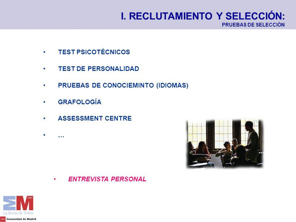 I. RECLUTAMIENTO Y SELECCIÓN: PRUEBAS DE SELECCIÓN