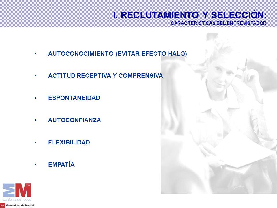 I. RECLUTAMIENTO Y SELECCIÓN: CARACTERÍSTICAS DEL ENTREVISTADOR